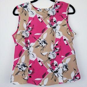 Karen Scott pink & tan flowered sleeveless top